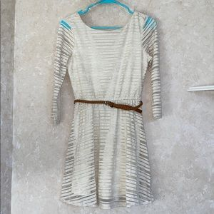 Off White 3/4 Sleeve striped Belted dress